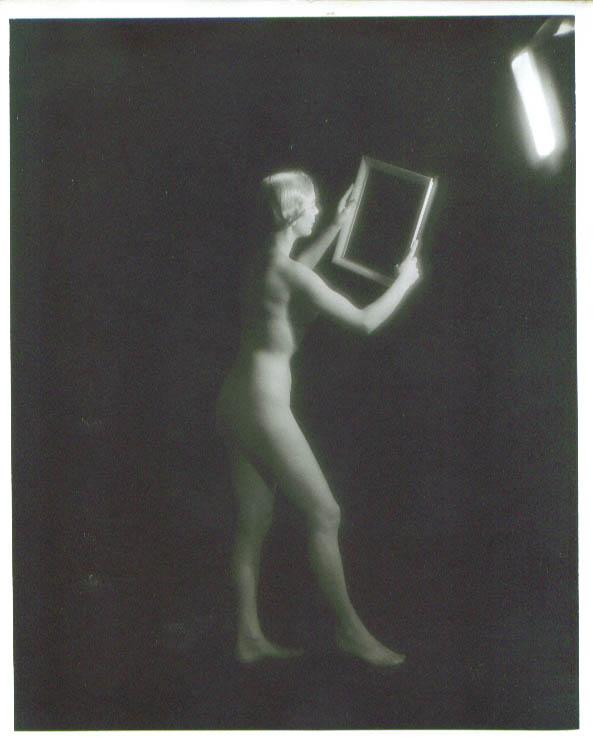 Standing nude blonde holds frame vintage 8x10 1950s