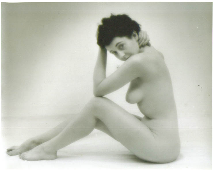 Image for Dark-haired seated studio nude vintage 8x10 1950s