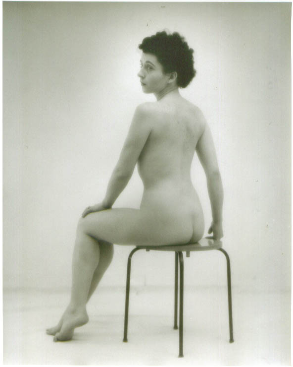 Dark-haired nude seated rear view vintage 8x10 1950s