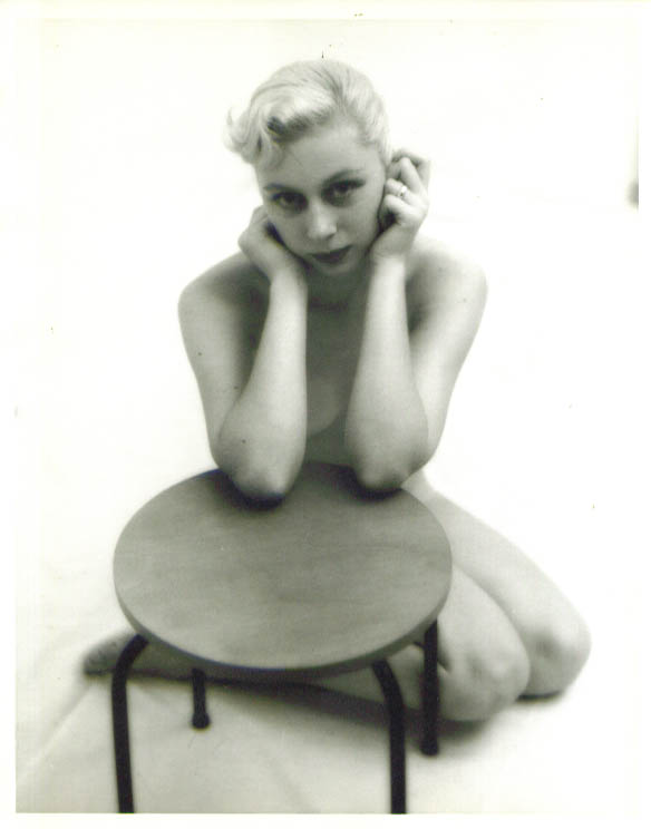Nude blonde leans on round table vintage 8x10 1950s