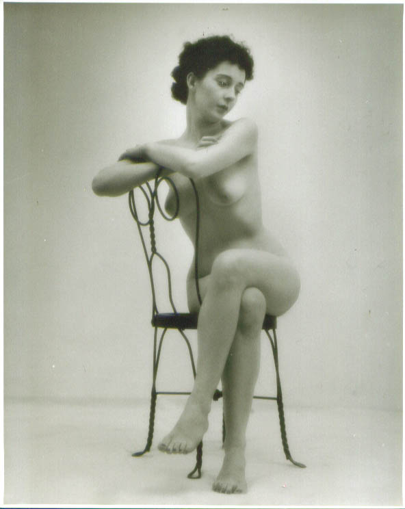 Seated nude ice cream parlor chair vintage 8x10 1950s