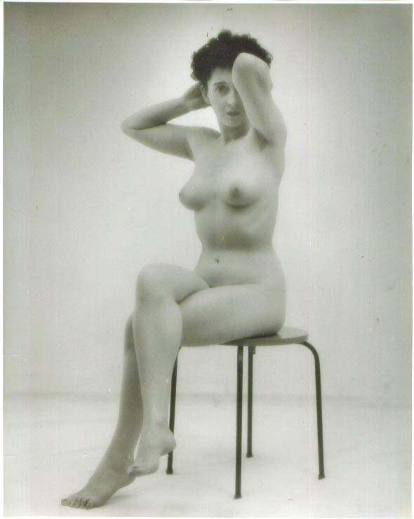 Image for Dark-haired nude seated legs crossed vintage 8x10 1950s