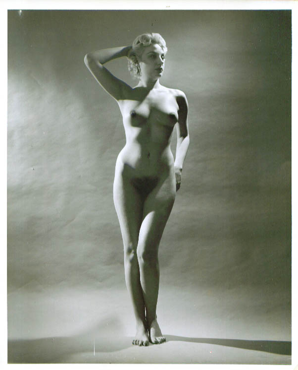 Nude blonde stands hand behind head vintage 8x10 1950s
