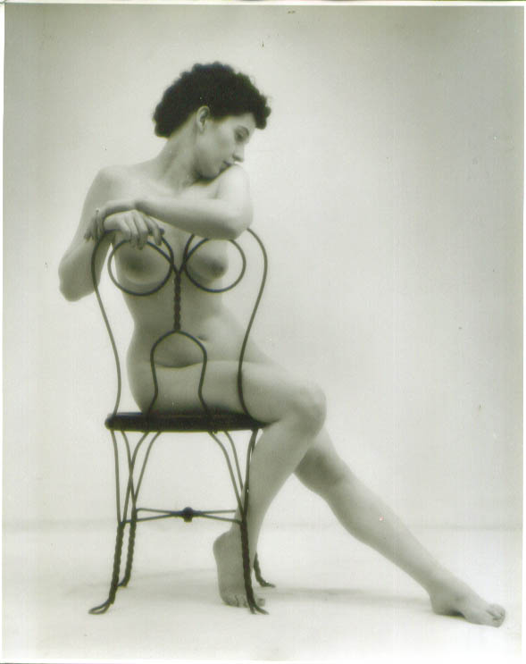 Nude in ice cream parlor chair vintage 8x10 1950s #2