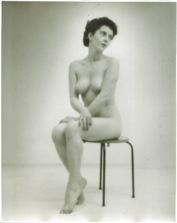 Dark-haired nude sits on round table vintage 8x10 1950s
