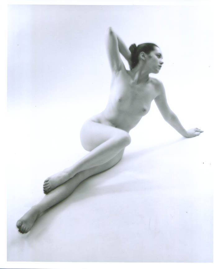 Image for Nude in bun knees up floor pose vintage 8x10 1950s