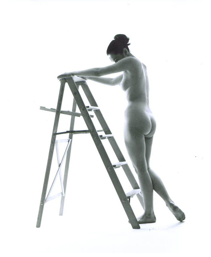 Nude with bun grasps stepladder vintage 8x10 1950s