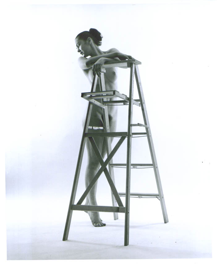 Image for Ponytail nude behind stepladder vintage 8x10 1950s