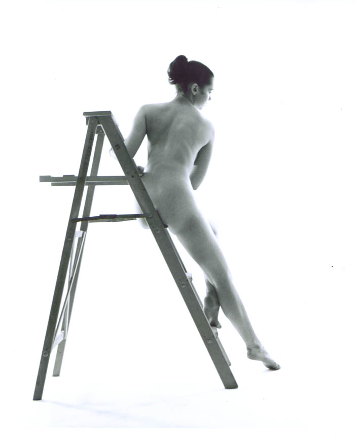 Ponytail nude rear view stepladder vintage 8x10 1950s