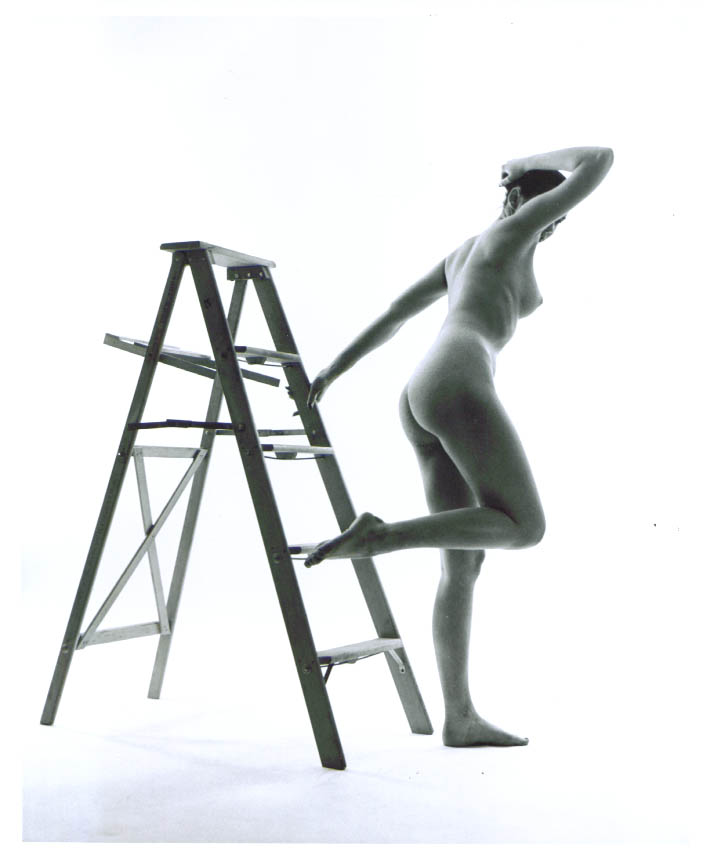 Ponytail nude 3/4 rear stepladder vintage 8x10 1950s