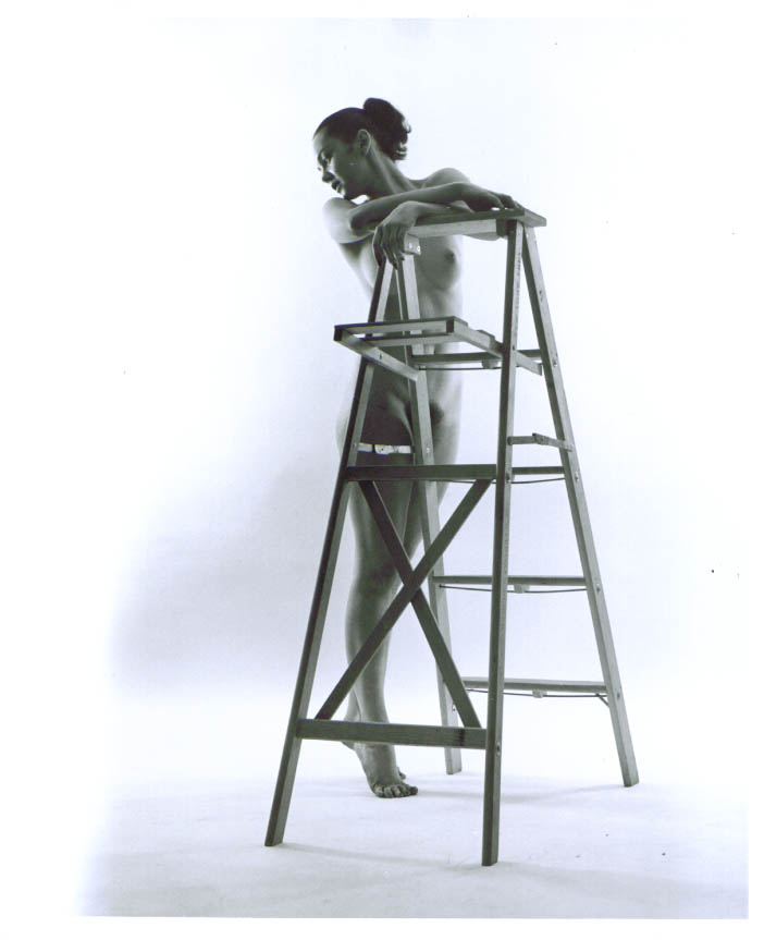 Image for Ponytail nude front view stepladder vintage 8x10 1950s