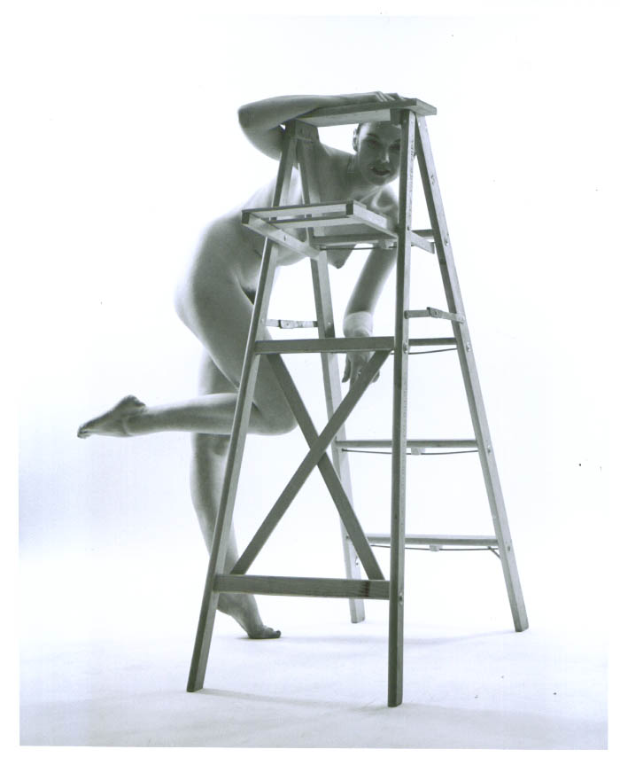 Ponytail nude looks thru stepladder vintage 8x10 1950s