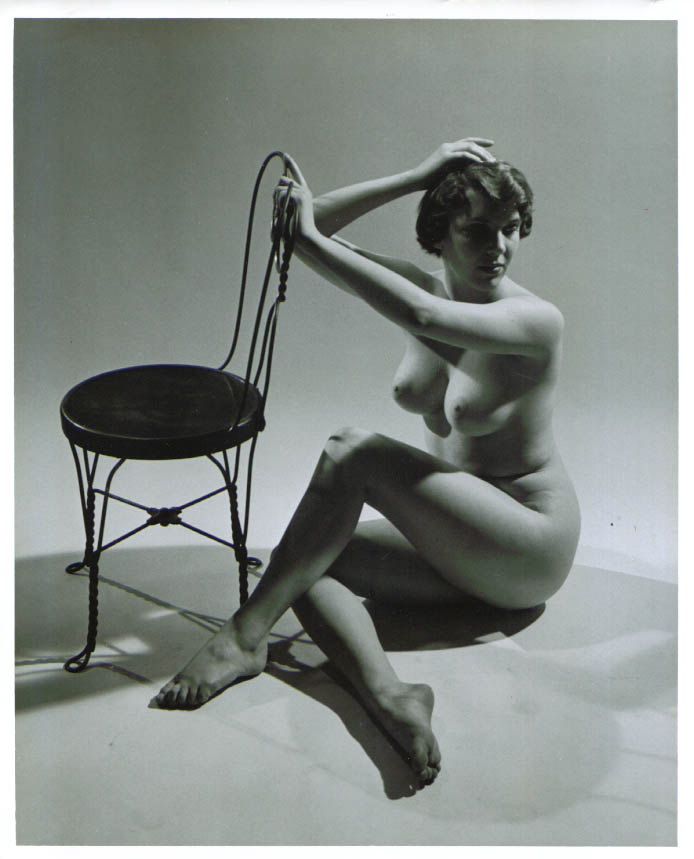 Brunette nude seated ice cream chair vintage 8x10 1950s
