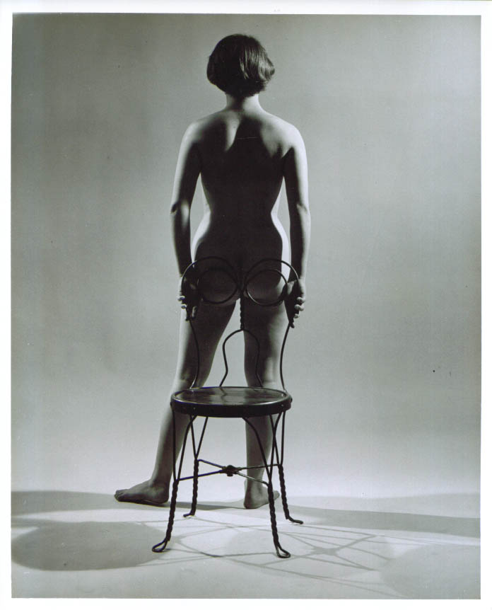 Rear standing nude ice cream chair vintage 8x10 1950s