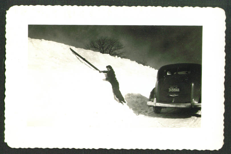 1930s Plymouth snowbank in MA 1940 photo