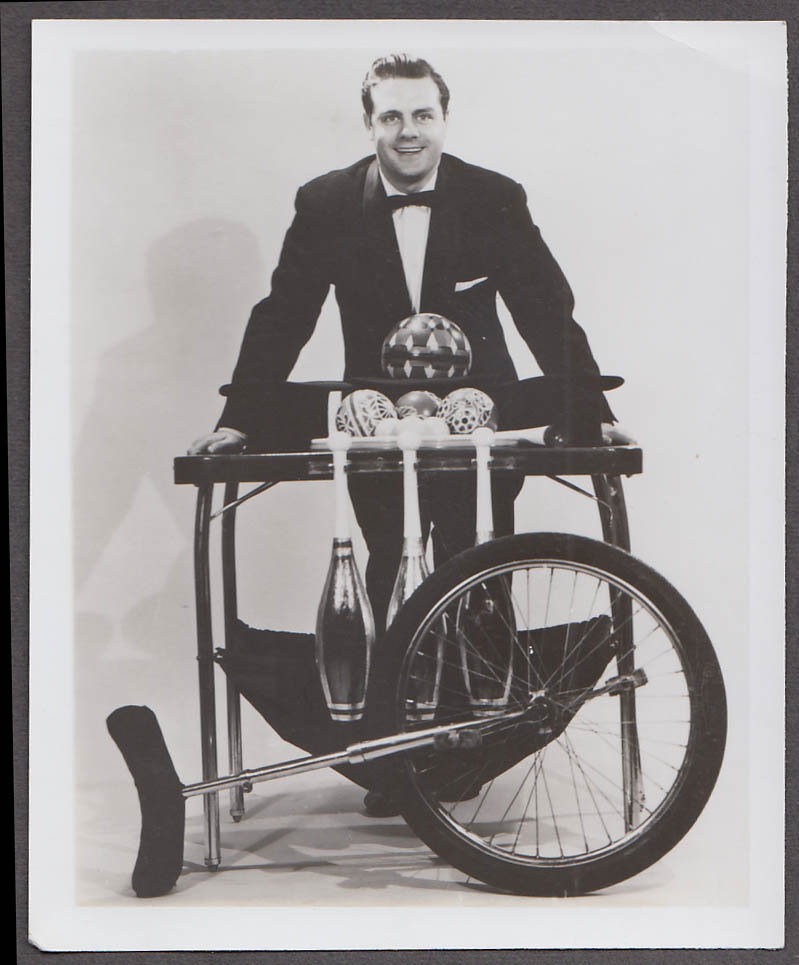 Image for Unidentified unicycle juggler with Indian Clubs & Balls promo photo 1950s