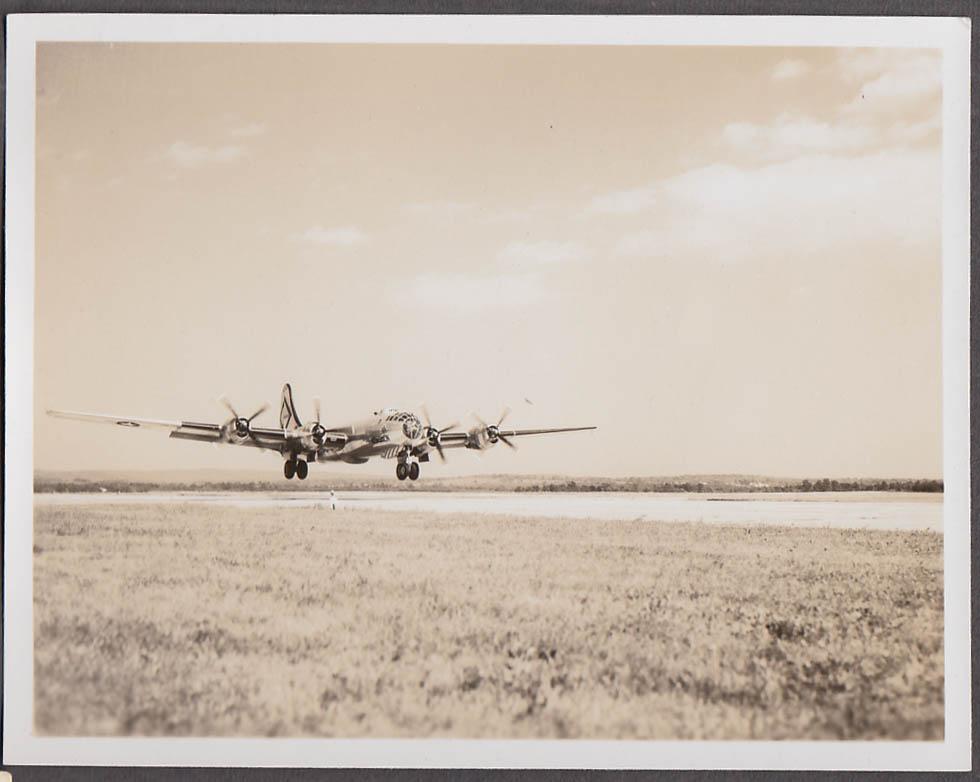 Image for USAF Boeing B-29 or B-50 landing Westover AFB ca 1950s marked Kensmen photo