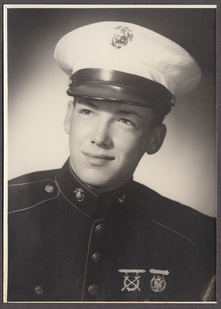 Image for Unidentified United States Marine with medals photo ca 1940s