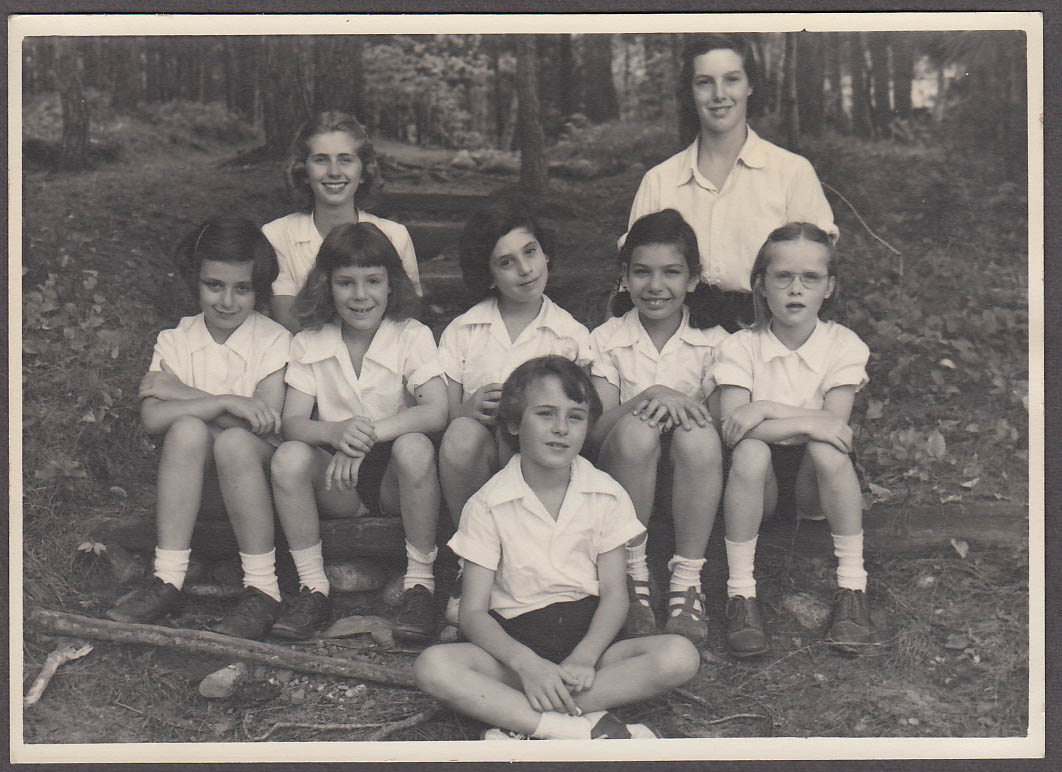 Image for Girls Summer Camp photo with counselors ca 1950s by Hughes Photo Chicago