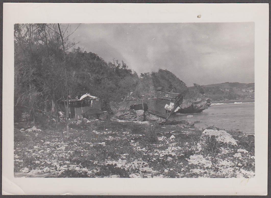 Image for Wooden ship washed ashore by typhoon Saipan photo 1947
