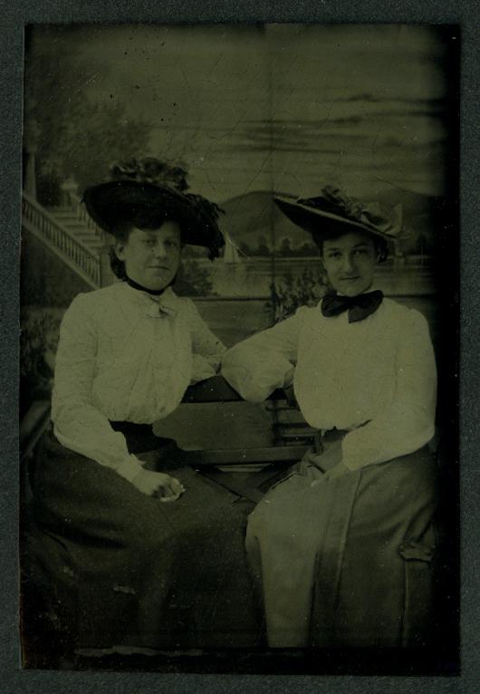 2 seated young women in hats studio tintype ca 1860s Clark's Bridgeport CT