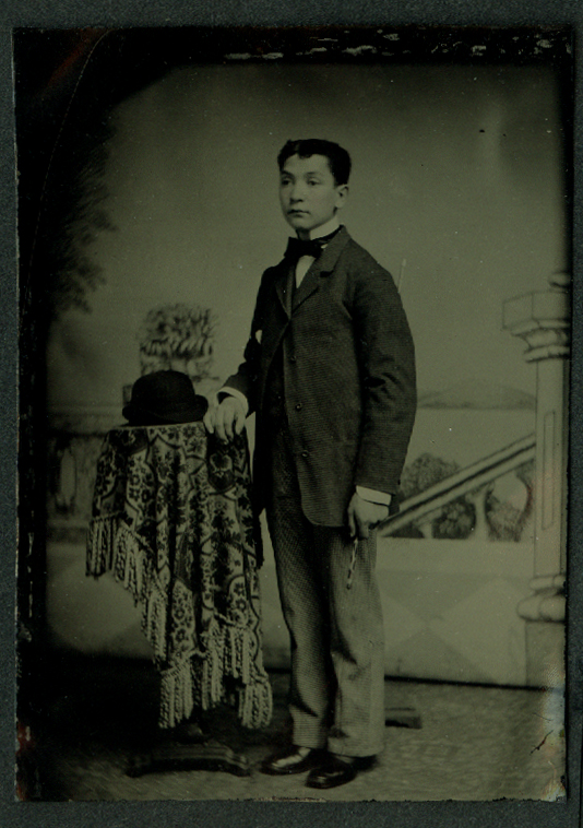 Standing man derby hat studio tintype ca 1860s possibly Campo family