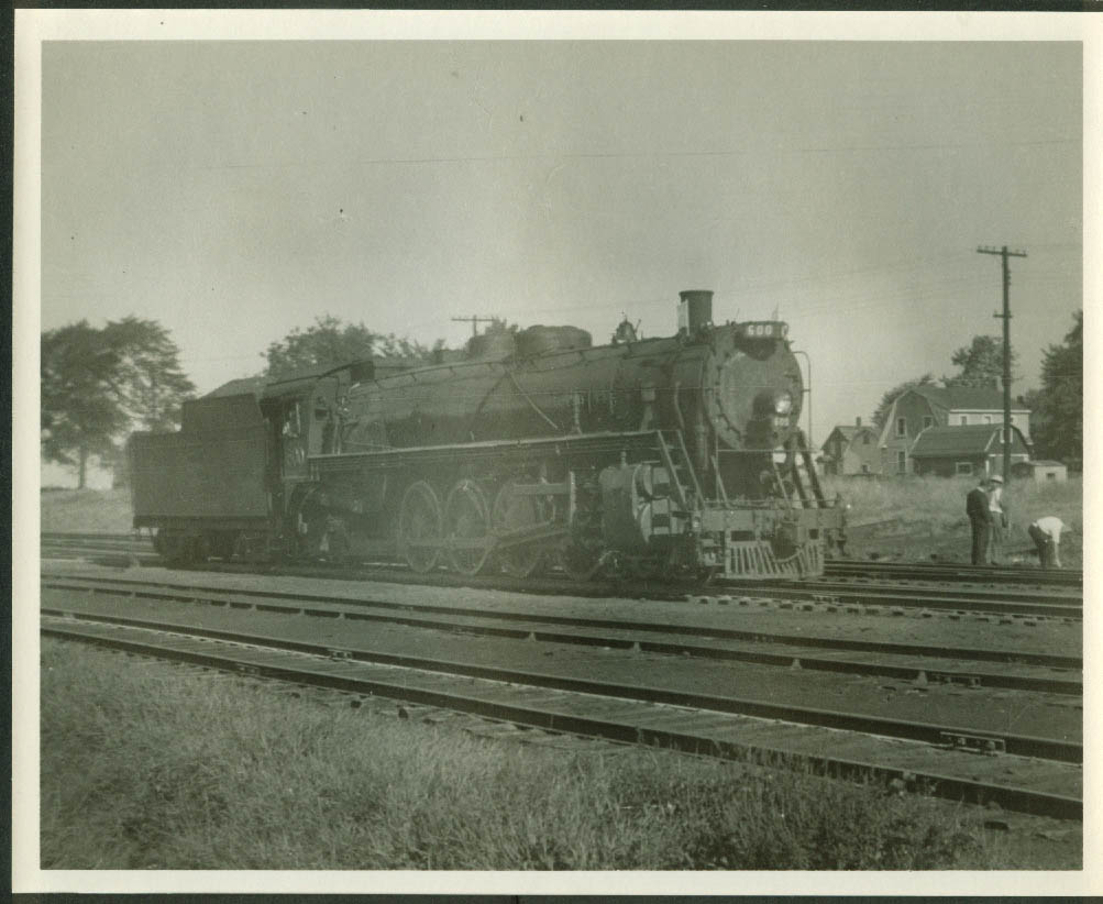 Central Vermont Railway 4--6-2 #600 idling near St Albans VT 8x10