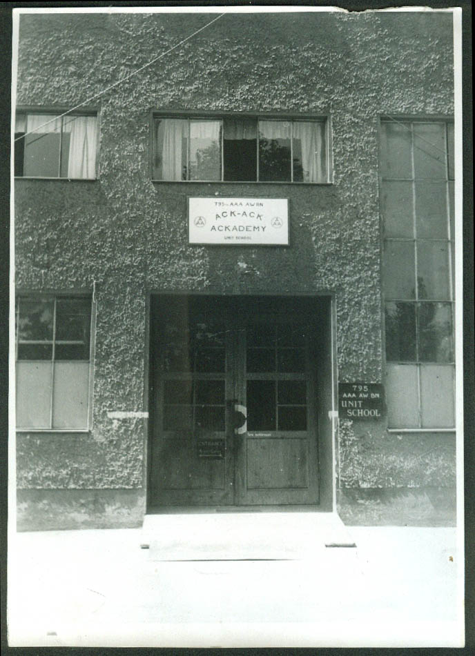 795th AAA BN Ack-Ack Ackademy Unit School photo 1945 Headquarters entrance