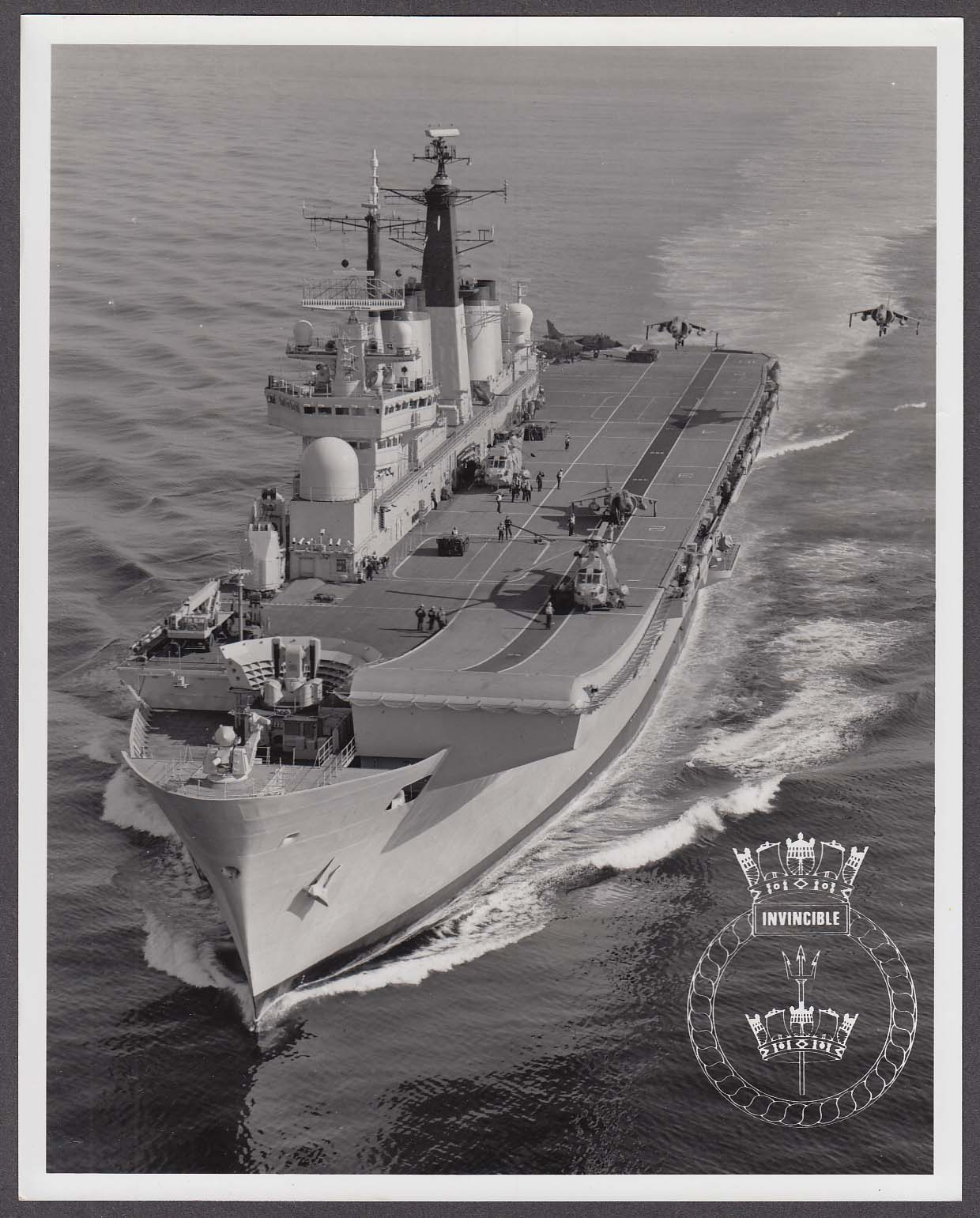 Image for Royal Navy Invincible-class carrier & Harrier jets 8x10 photo