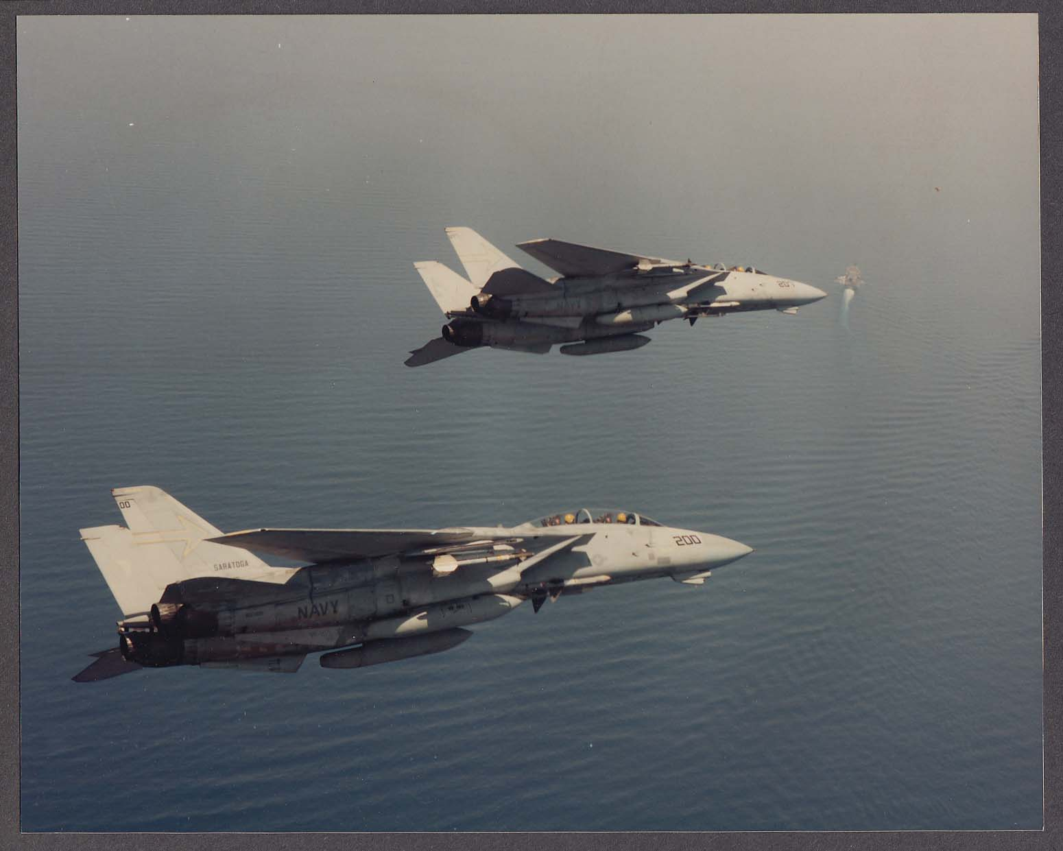 Image for VF-111 F-14 Tomcats on approach to USS Saratoga aircraft carrier 8x10 photo