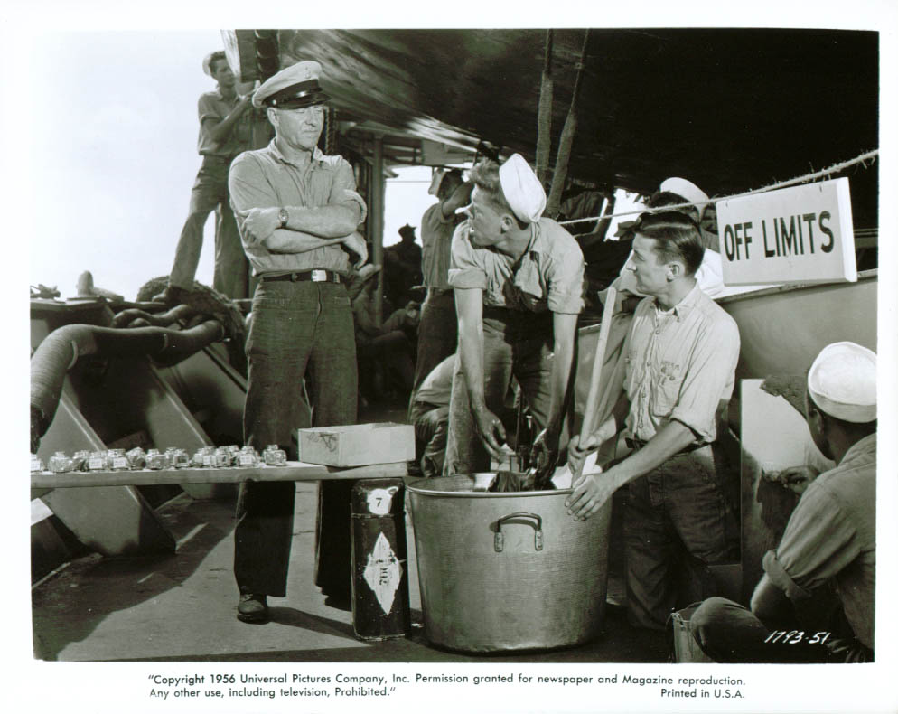 Frank Faylen rags some gobs in Away All Boats 8x10 1956