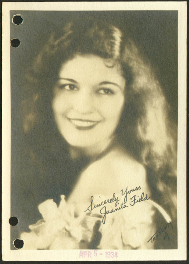 Juanita Field film actress 1930s 5x7 Fields ?