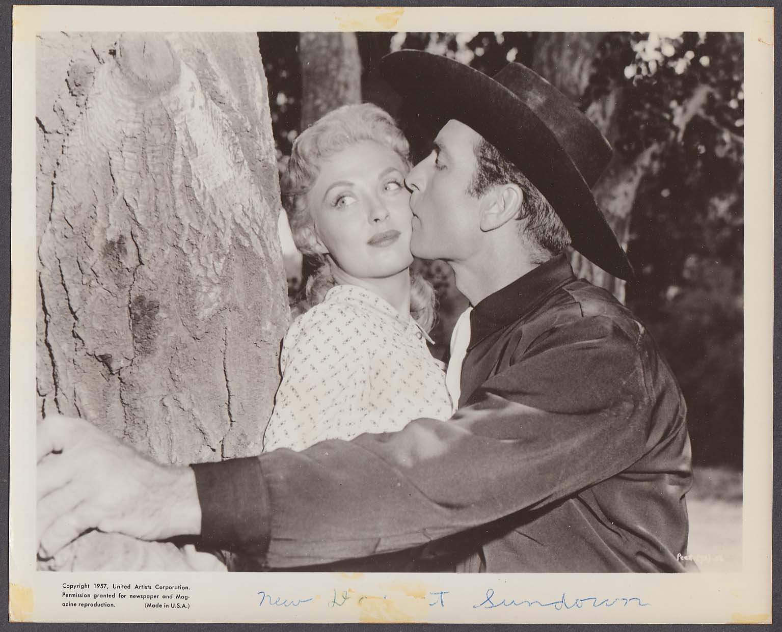 George Montgomery kissing Randy Stuart Man from God's Country 8x10 photo 1957