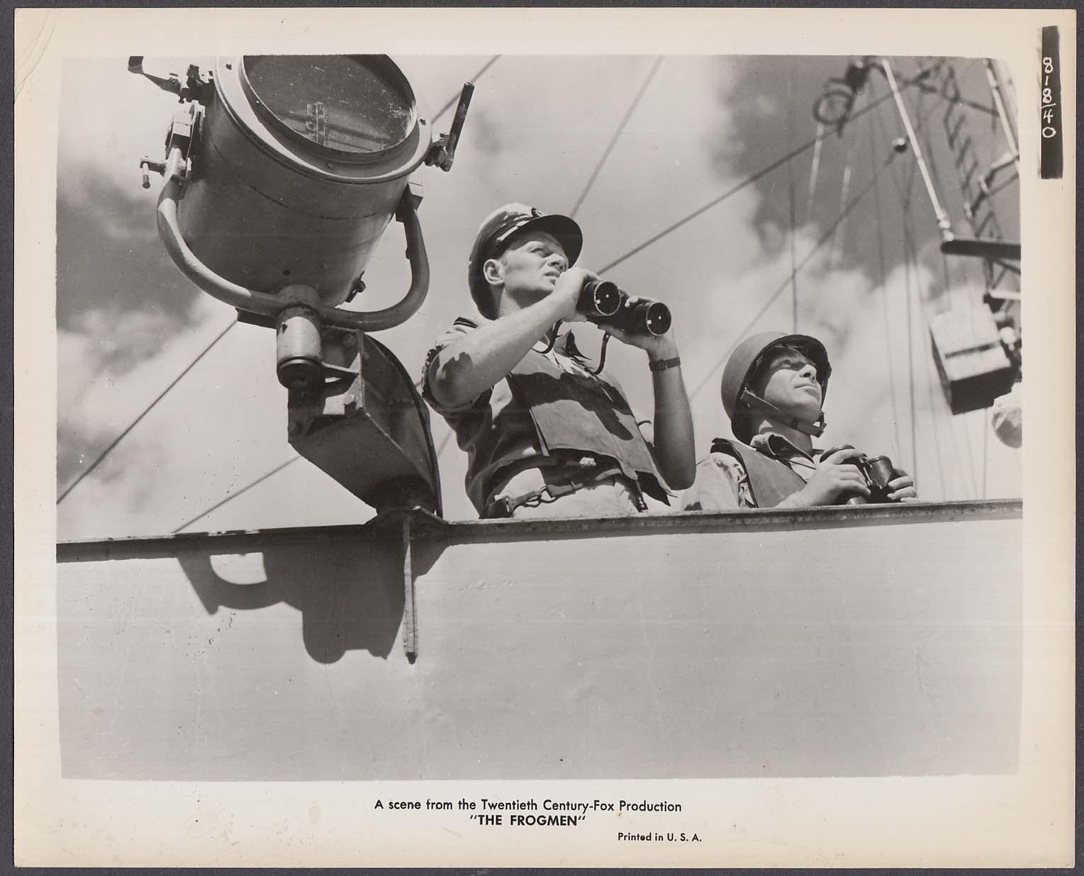 Richard Widmark on deck with binoculars The Frogmen 8x10 photo 1951