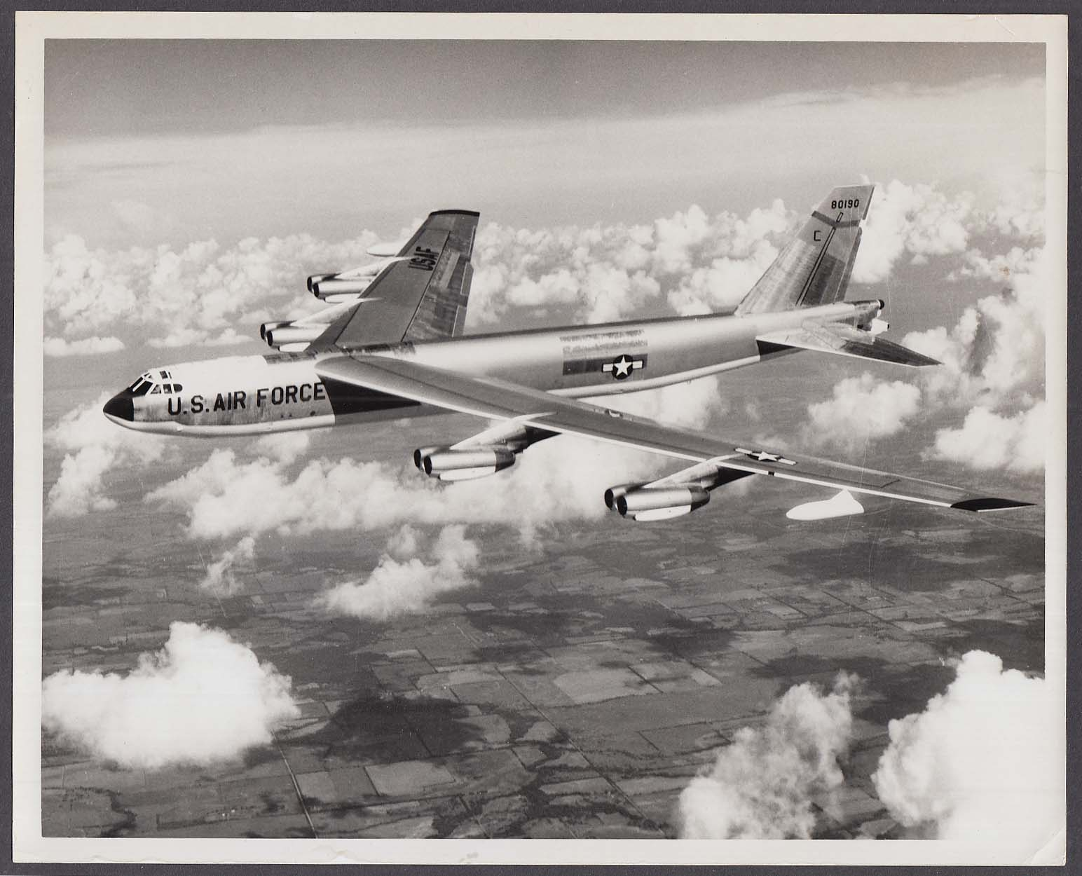 USAF B-52 bomber C 80190 in flight over US 8x10 photo 1971