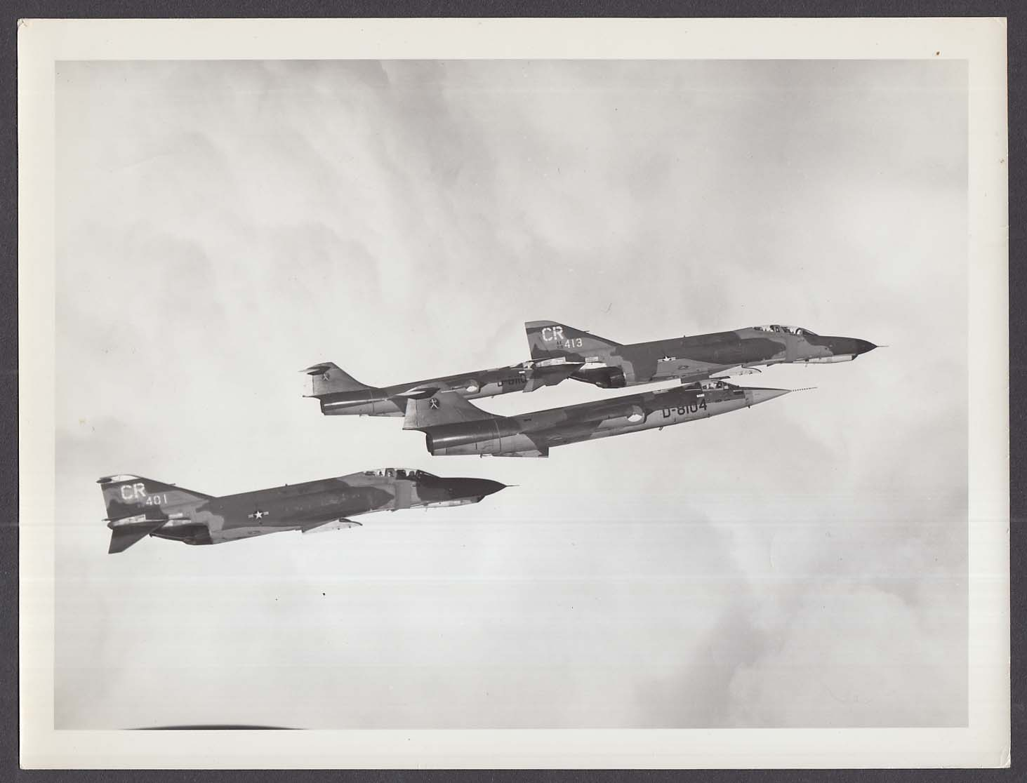 Royal Netherlands F-104 Starfighter formation with USAF F-4E Phantom 8x10 photo