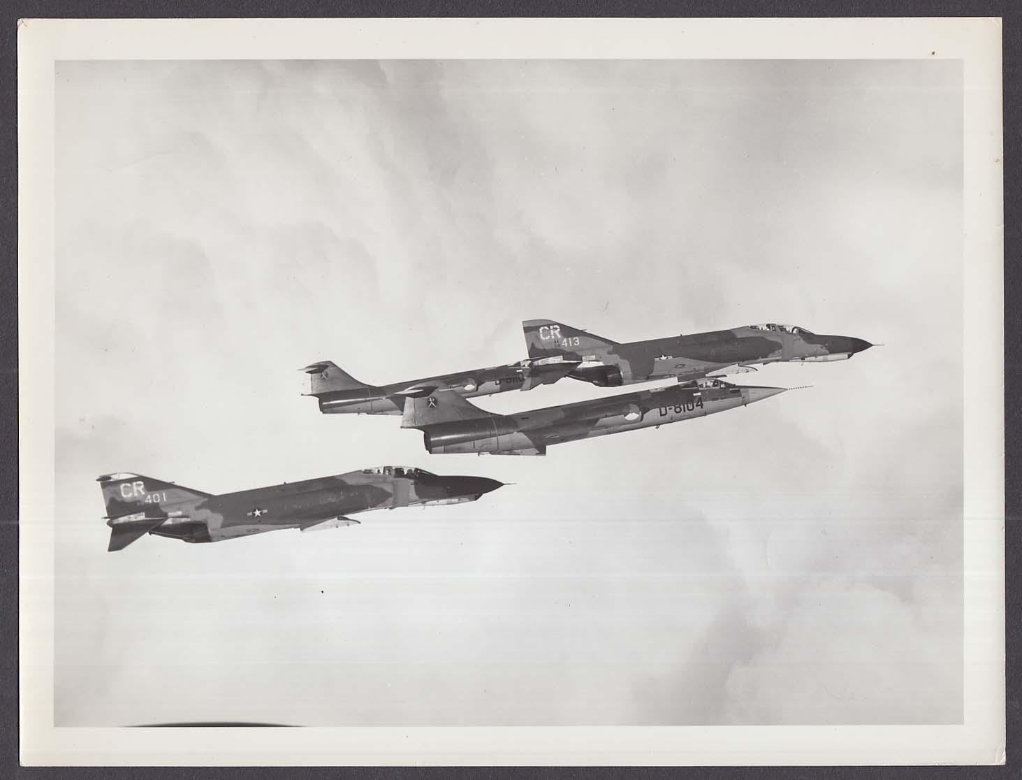 Royal Netherlands F-104 Starfighter formation with USAF F-4E Phantom 8x10 photo