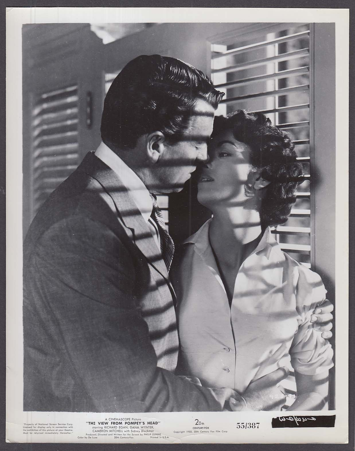 Richard Egan Dana Wynter kiss The View From Pompey's Head 8x10 photo 1955