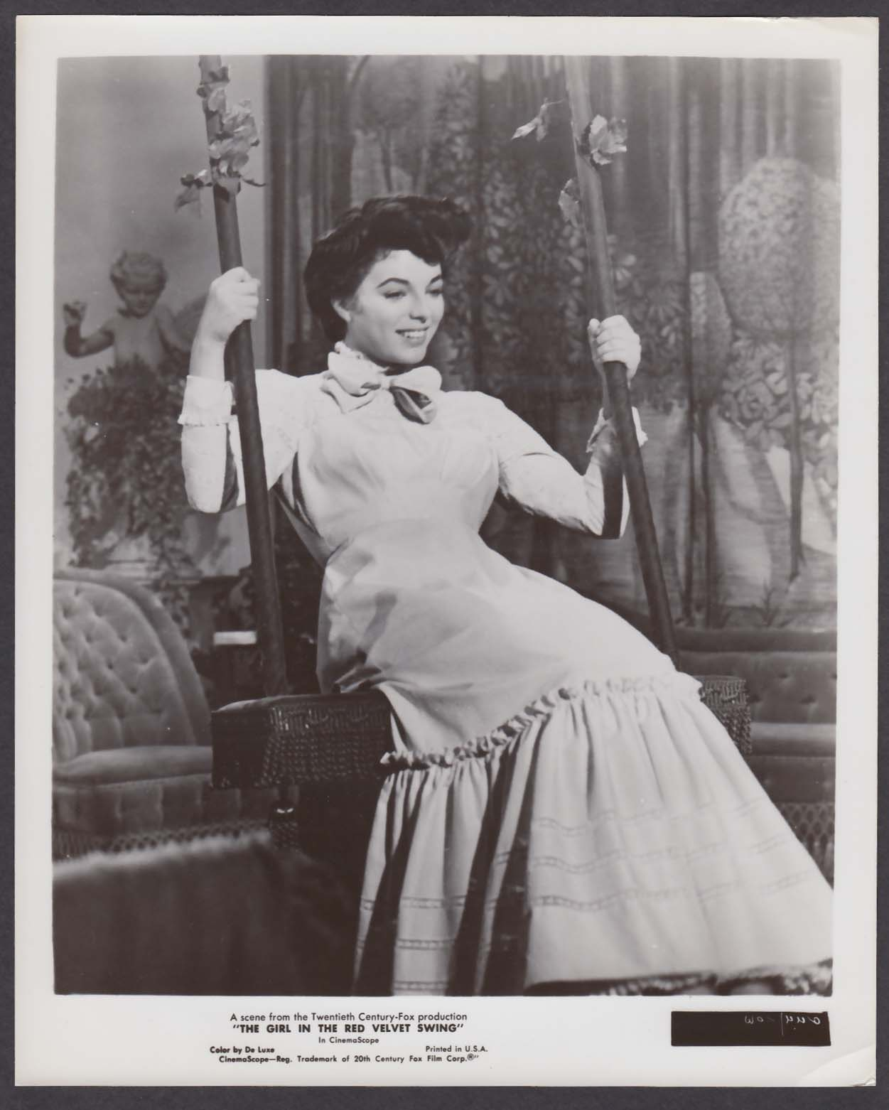 Joan Collins swinging Girl in the Red Velvet Swing 8x10 photo 1955