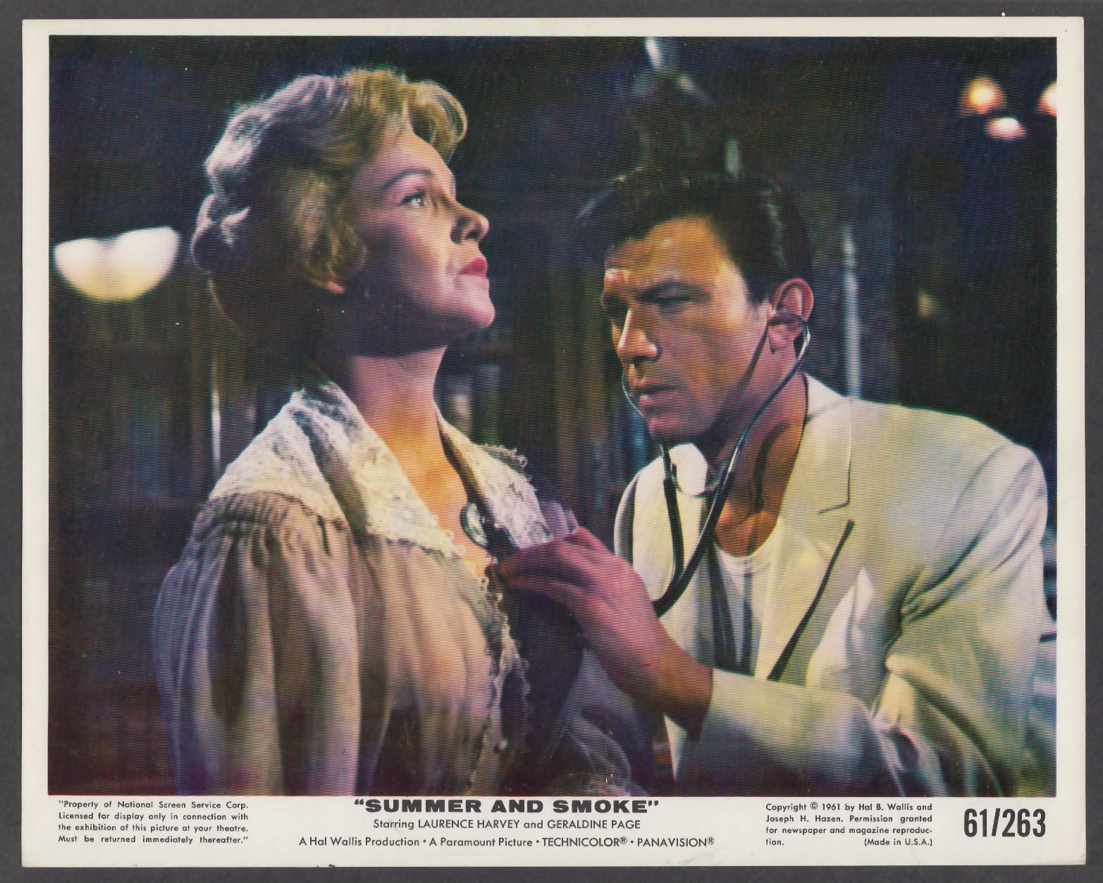Image for Geraldine Page & Laurence Harvey in Summer and Smoke 8x10 lobby card 1961
