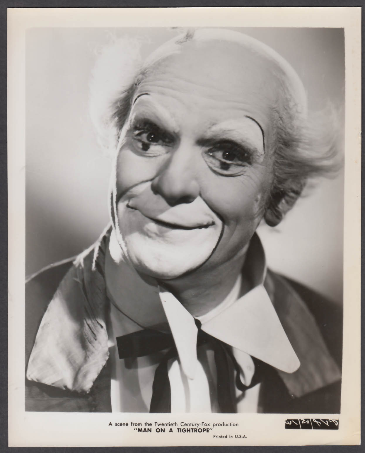 Image for Fredric March in clown makeup Man on a Tightrope 8x10 publicity photo 1953