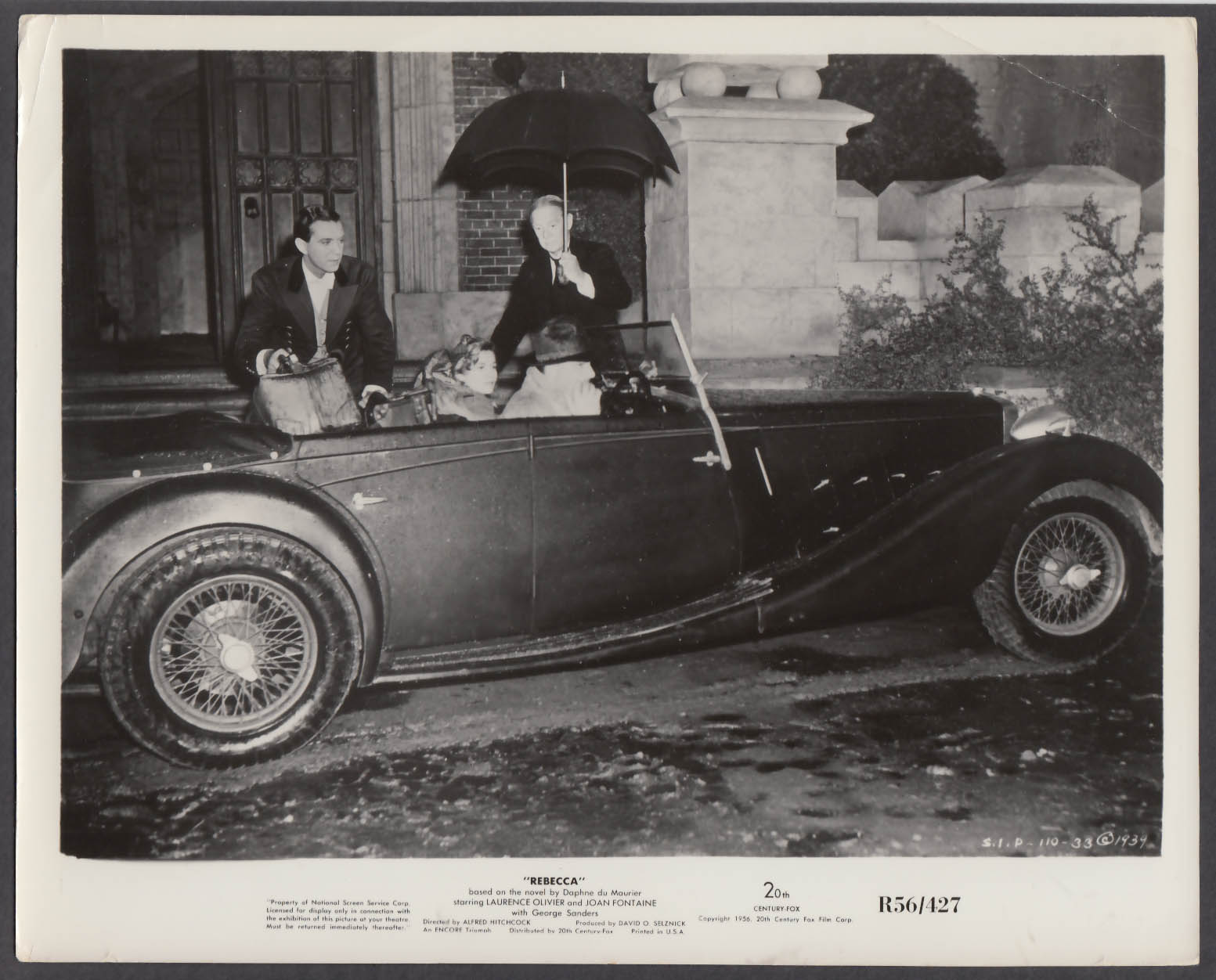 Joan Fontaine Laurence Olivier in convertible Rebecca 8x10 publicity photo 1940