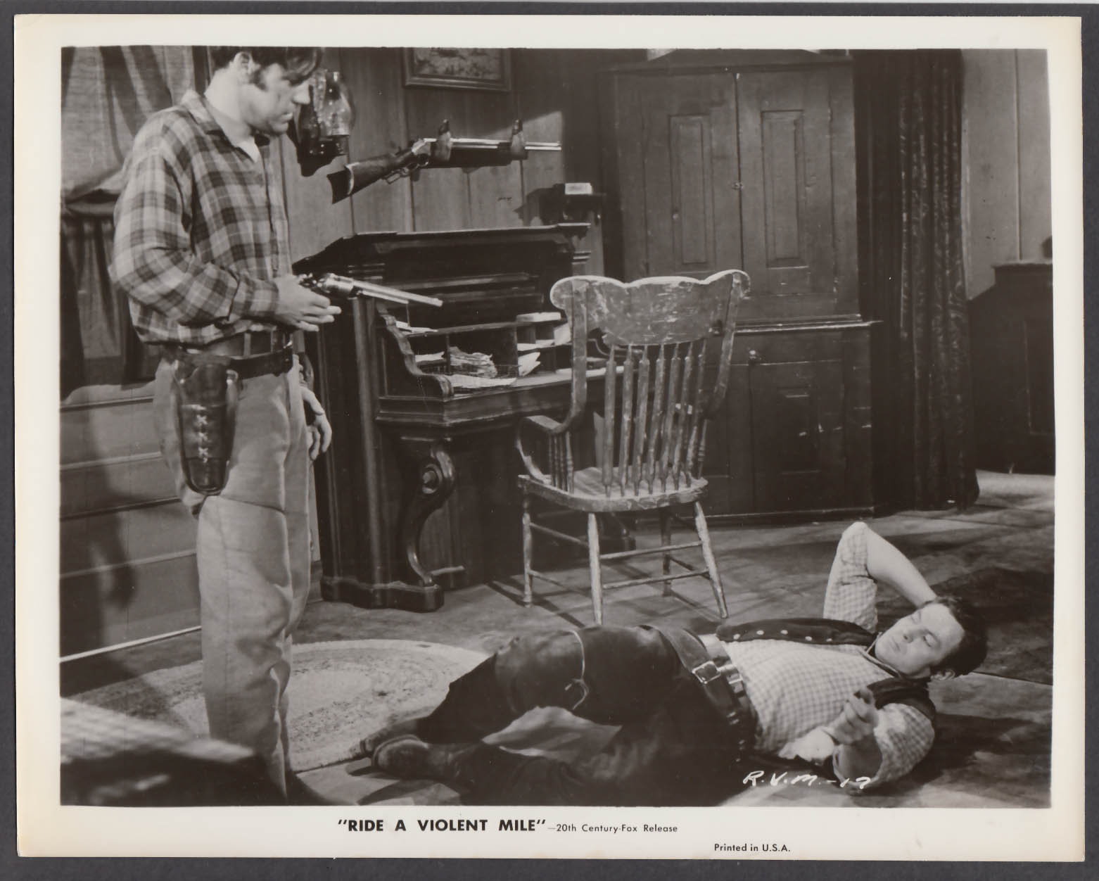 Image for Bing Russell & John Agar in Ride a Violent Mile 8x10 publicity photo 1957