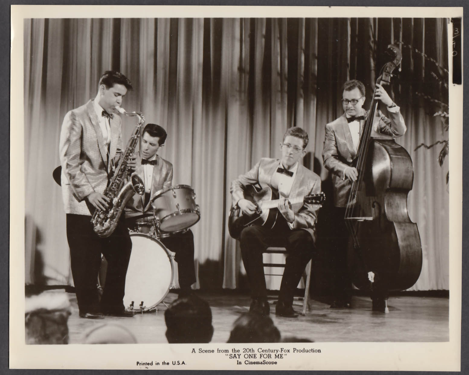 Image for Say One For Me 8x10 publicity photo 1959 band performing on stage