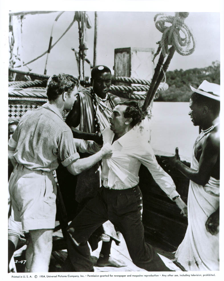 Anthony Steel Martin Benson & two Africans West of Zanzibar 8x10 1954