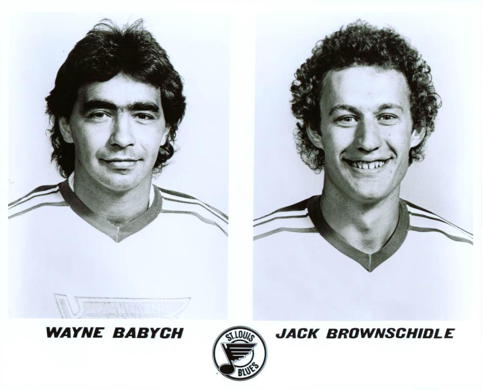 Wayne Babych & Jack Brownschidle St Louis Blues 8x10 1981-82