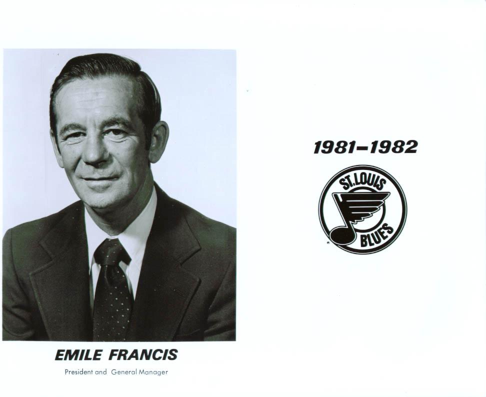 President Emile Francis St Louis Blues 8x10 1981-82