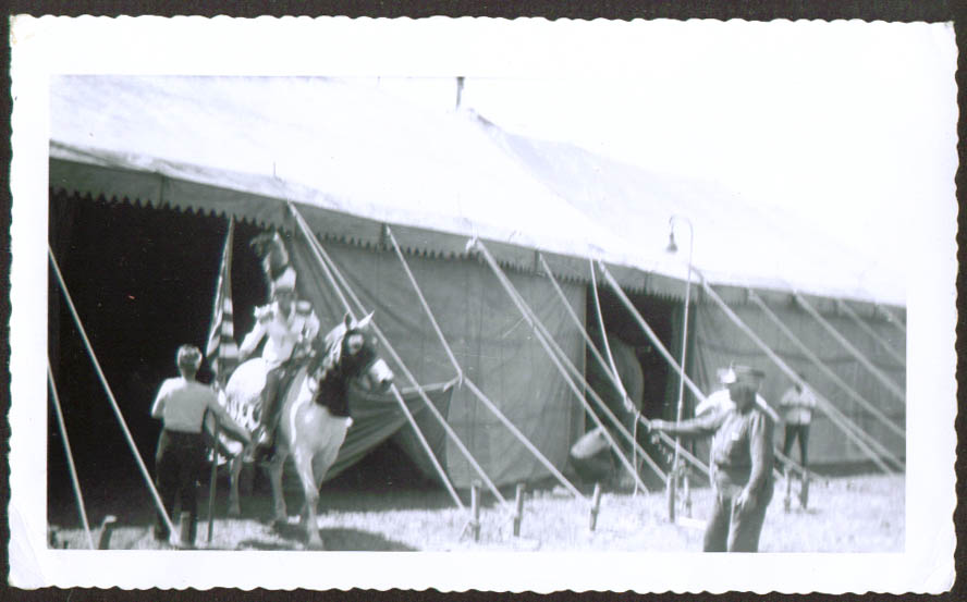 Equestrienne exits tent Mills Bros Circus photo 1954