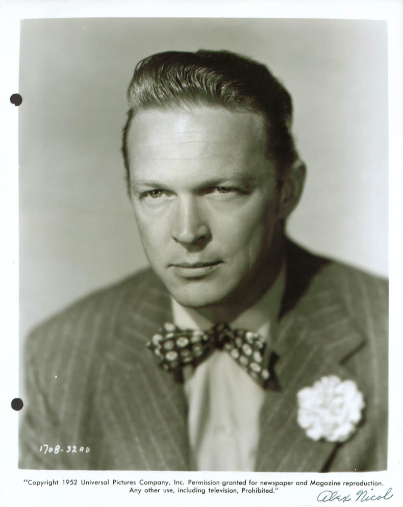 Actor Alex Nicol studio publicity still 8x10 1952