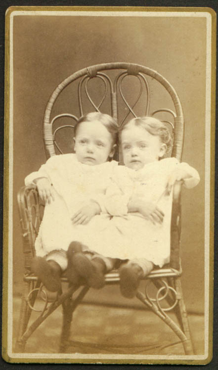 2 children 1 wicker chair CDV L J Randall Reading MA
